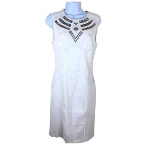 Bebe A-line Dress beaded fitted white